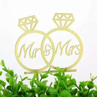 Gold Acrylic Wedding Cake Topper