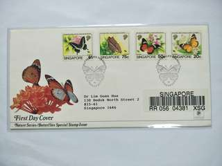 Singapore registered FDC Butterflies
