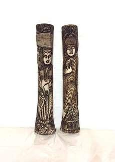 Beautiful Vintage Ivory look alike Carvings Display