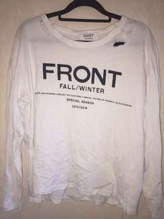 RIPPED WHITE LONG SLEEVE