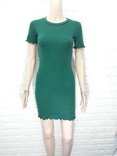 Ribbed Lettuce Bodycon Dress