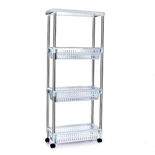 4 Layer Stainless Steel Stand Hook Storage Rack