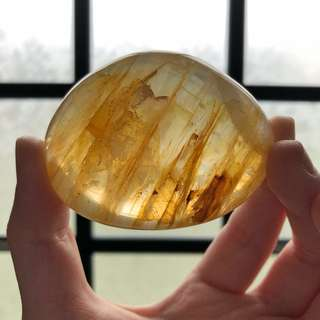 Golden Hematoide Crystal Palm Stone #D1
