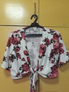 Rose printed tie crop top