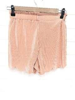 Silk Pleated Scallop Shorts