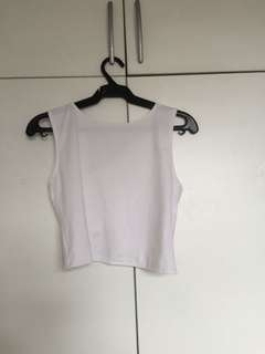 White cross backed cropped top