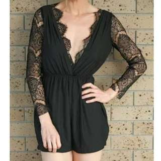 Reverse Black Lace Playsuit Jumpsuit