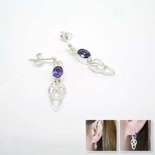 925 silver purple zirconia earrings 925純銀紫色鋯石耳環