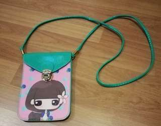 Girl sling pouch bag with 2 compartment slots