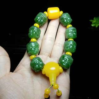 [the big day like the coming] and the tian yu old pit Russia jasper ice bottom crystal green hand string