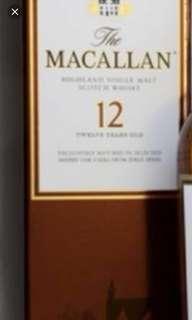 麥卡倫12年雪梨桶威士忌700ml box, 每個