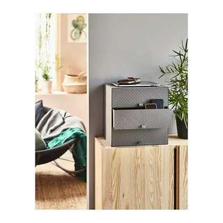 Dark Gray Grey Fish Scale Texture IKEA Pallra Eket Crafts Jewellery Stationery Makeup Make-Up Accessories Computer Parts USB Sticks Chargers Rechargers Small Items Sturdy Mini Chest Multipurpose Storage Organizer Box With 3 Drawers