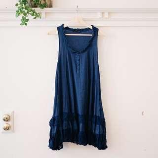Luka Navy Blue Linen Frill Summer Dress