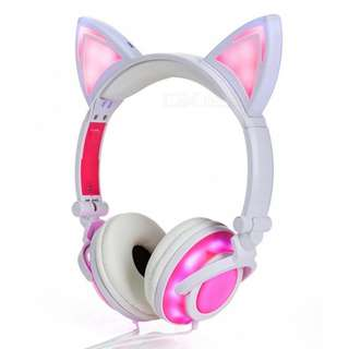 Cat Ear & Muffs 4 LED Lights Glowing Headphone Over-ear, Rechargeable