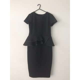ASOS Petite Black Peplum Dress
