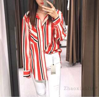 🚚 Europe and the United States multi-color long-sleeved striped single pocket loose casual shirt