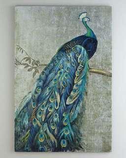 Handmade paint art Peacock oil painting for living room wall art