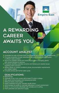 Account Analyst / Real Estate Agent Hiring 14k allowance + 15k incentives + commission