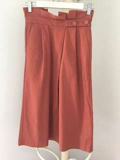 ZARA size 8 orange high waisted skirt with button detail and pockets