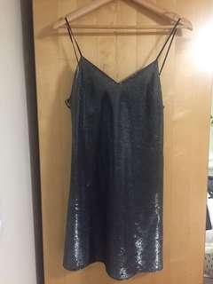 Zara slinky silver mini dress