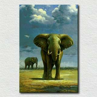 Canvas Painting Oil handpainting without frame elephant oil handpainting poor elephants lost their homes New Design Handmade art