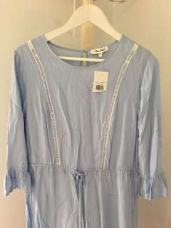 MISS SHOP size 14 pale blue dress with 3/4 ruffled sleeves and tie waist BNWT