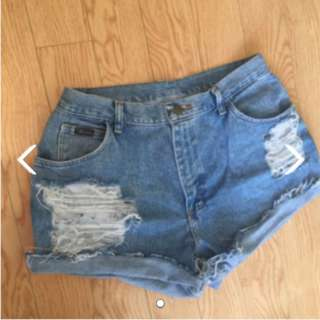 WRangler High waisted distressed shorts