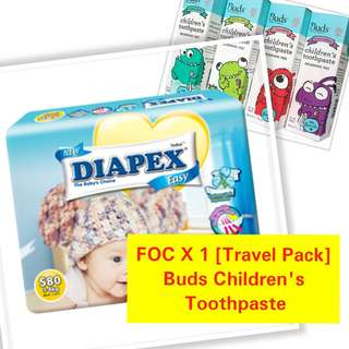 Diapex Easy S- XXL FOC Travel Pack Buds Childrens Toothpaste