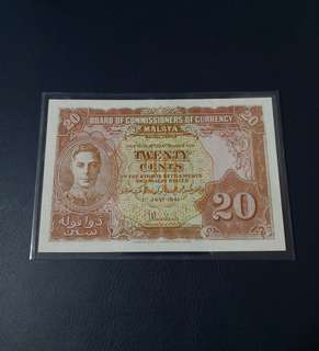 (Reserved)1941 BOCOC Malaya King George VI 20 Cents Banknote