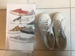 SUPERGA White Leather Sneakers Size 6
