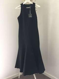 YOURS SINCERELY size  12 full length black dress fishtail hem  sleeveless BNWT