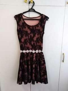 Black-laced peach floral dress