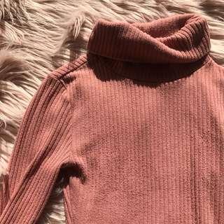 Blush/ pink Turtleneck Skivvy bodysuit