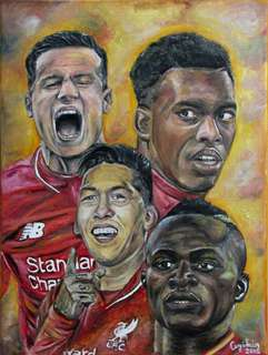 Liverpool forwards Coutinho, Sturridge, Firmino, Mane (Oil Painting on 30cm × 40cm canvas)