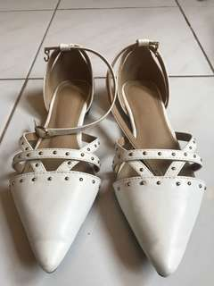 White studded pointed flats