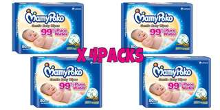 4 x Mamypoko Baby Wipes Cottony Soft Fragrance Free (80 Sheets)