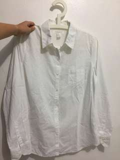 F21 White Long Sleeved Button Down