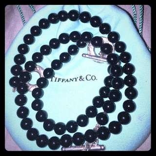 Tiffany and co black onyx necklace