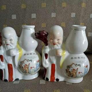 2 Pcs - Sweet Ancient Chinese Longivety With Vase Holder