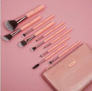 Pretty in Pink! - 10 pcs brush set with cosmetic bag