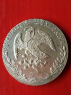 Mexico 1890 AM silver 1 peso Unc