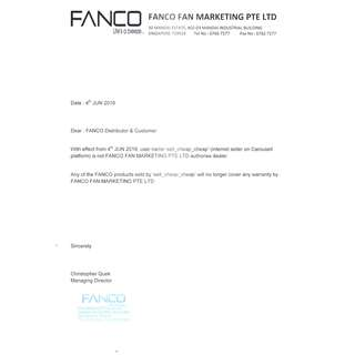 """FANCO New Notice on 4/6/2018 for user""""sell_cheap_cheap"""""""