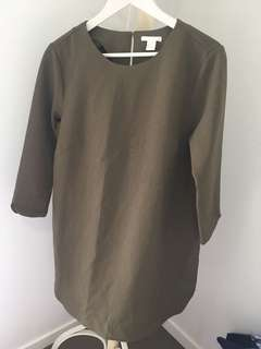 H&M size 12 khaki winter dress 3/4 sleeve and knee length