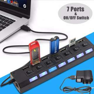 USB 2.0 (7 Port Hub Extension with Switch)