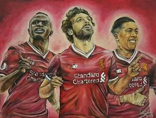 Liverpool Salah, Mane & Firmino (Oil & Acrylic painting on 30cm × 40cm canvas)