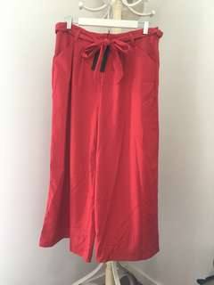 VALLEYGIRL size 12 red high waisted tie up wide leg pants BNWT