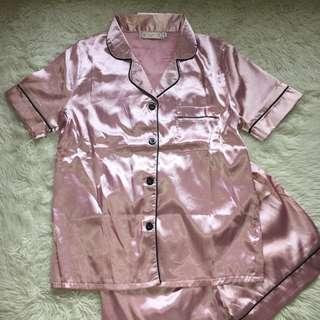 Pink Luxury Silky Pyjama Set with Black Piping Size XS / 6