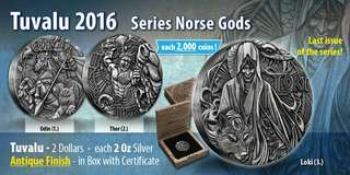 2016 2 oz Tuvalu Norse Gods Odin,Thor and Loki Silver High Relief Full Set Coin