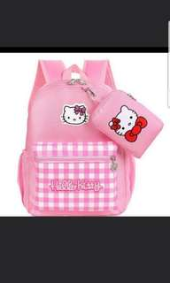 In stock hello kitty school bag for primary 1 to 3 size is 27  × 11 × 38cm