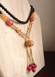 Beaded Necklace with Tassels (black and orange beads)